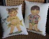Retro Bikini Girl OR Beach Boy Pillow(s)-2 Designs- Personalized Free -Vintage Image- Gift, Travel Pillow