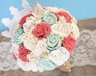 Natural Wedding Bouquet- Coral Mint Ivory Bridal Bridesmaid Bouquet, Rustic Wedding, Alternative Bouquet, Keepsake Bouquet