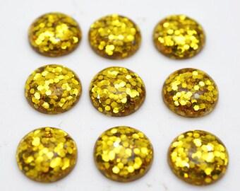 30pcs 12mm Wholesale Resin Cabochons Golden Color Resin Cabochon Glitter Resin Cabochons 301-6