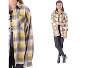 90s Plaid Shirt Flannel Shirt GRUNGE Button Up Faded Black Grey Yellow 80s Lumberjack Vintage Men Oversize Checkered Pocket XL to XXL