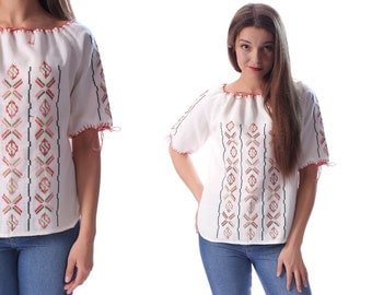 White Mexican Blouse EMBROIDERED Top Hippie Boho Shirt FESTIVAL Linen Tunic Cut Out Bohemian Floral Vintage Ethnic Smock Tent Medium