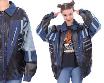 Vintage Colorblock Jacket . 90s Faux Fur Vegan Black Faded Blue Denim Work Jeans Jacket 1990s Trucker Oversized Bomber Retro Outerwear . XXL