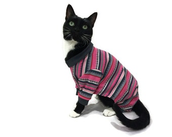 Pink and Gray Cat Pajamas-Pajamas for Cats-Cat Clothes-Cat Pajamas-Cat Clothing-Cat Onesie-Onesies for Cats-Clothes for Cats-Cat Jumper