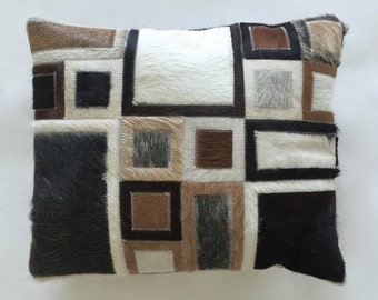 Cowhide Pillow - Black White Beige Patchwork Cushion - 16 x 14 in