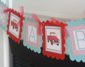 "Vintage Red Truck Automobile Transportation ""It's a Boy"" Red & Blue Stripe Baby Shower Banner - Ask About our Party Pack Specials"