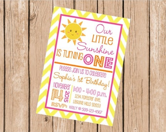 """Customized 5x7"""" Printable OR Printed Invitation WITH Envelopes - Hot Pink, Orange & Yellow Chevron Sunshine - Or Match ANY theme in my Shop"""