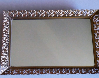 mirror- mirrored tray- vanity tray- gold mirror