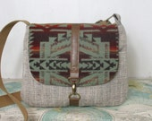 Shonto -- Crossbody messenger bag // Tribal // Ombre // Adjustable strap // Southwestern // Fall purse // Wool // Mint // Ready to ship