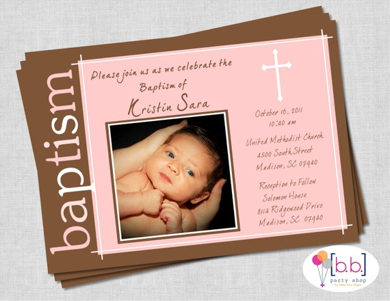Baby Girl Baptism Invitation- Pink  & Brown- Printable or Shipped