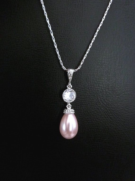 Bridal Necklace Bridesmaid Necklace Soft Pink Drop Pearl Rose Pink Pearl Blush Pink Drop Pearl Round Cubic Zirconia Necklace