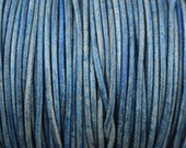 2mm Blue Natural Dye Leather Cord  -  Genuine Leather 2mm Round Cord