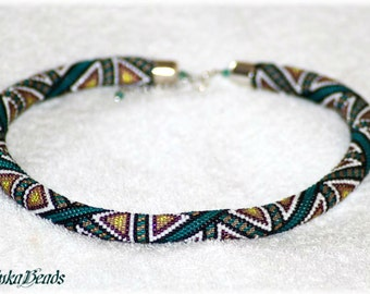Teal geometric triangle pattern with bright accents bead crochet necklace handmade toho