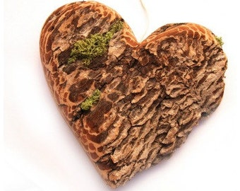 Valentines gift Idea for him,  Valentines Decoration, Valentines Heart, Large Rustic Driftwood Heart, Bark Moss. Hand Turned Wooden Bead