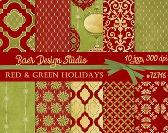 Digital Paper Christmas, Red and Green Digital Paper, Damask Digital Paper, Digital Background Paper, Red and Gold Digital Paper, #72716