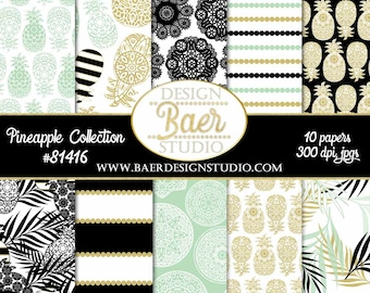 Gold Pineapple Digital Paper:Digital Paper Summer, Mint Pineapple Paper, Black and White Wide Striped Digital Paper, Palm Leaf Digital Paper