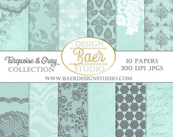 LACE DIGITAL PAPER: Turquoise Digital Paper, Digital Paper Vintage, Turquoise and Gray Digital Paper, Digital Scrapbook Paper