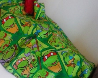 TMNT teenage mutant ninja turtles bedding set for dolls or stuffed toys.  works great for american girl and bitty baby