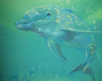 "Original 8x10""  Dolphin Canvas art Print #3 -: rdoward fine art"