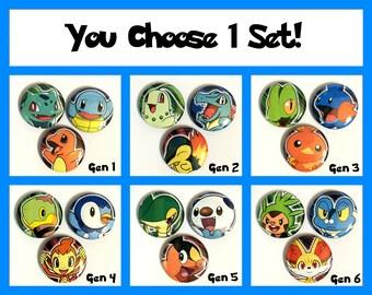 Pokemon Starters Button Magnet Sets! (You Choose 1)