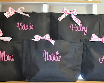 Monogrammed Totes, Set of 5 Totes, Personalized Tote Bag, Goodie Bags, Bridesmaids Gifts, Party Favors, Dance Bag, Music Bag