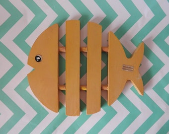 Mid Century Modern German Wooden Fish Trivet