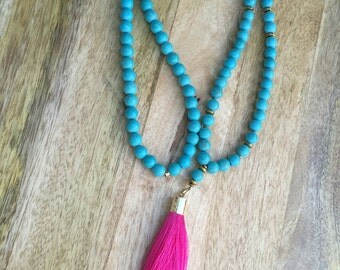 Pink Tassel Necklace, Turquoise Long Necklace