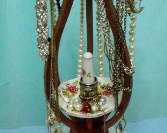 Mothers Day jewlery holder necklace display one of a kind  antique lamp parts lowo design