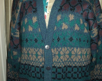 Vintage UGLY Boyfriend Style Cardigan Sweater, Size Men's Large in Very Good Condition with 80's style knitted pattern in jewel color tones