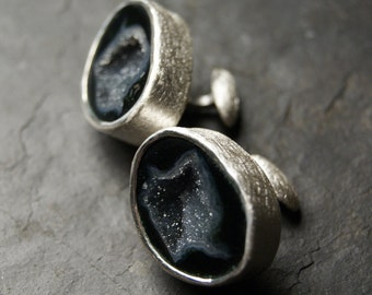 Black and Grey Geode Cufflinks in Sterling Silver