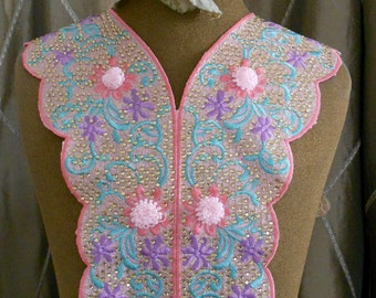 Multi Colored Stitched Beaded Floral Appliques
