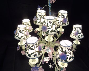 Painted Tole Chandelier Shabby Elegance Floral Embroidered Tulle Shades Country Chic Beach Cottage Chandelier