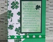 St. Patrick's Day Greeting Card, Irish Blessing, May the Road Rise to Meet You, Green Handmade Notecard for Irish Holiday, Gingham Shamrocks