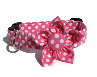 Dog Collar and Flower Set in Pink and White  Dots for Small to Large Dogs