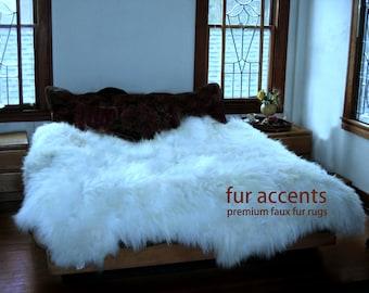Thick Sheepskin Accent Rug / Faux Fur Flokati Throw / Polar Bear Pelt /White or Soft Off White / All New Sizes