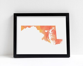 Maryland or ANY STATE Map - Custom Personalized Heart Print - I Love Washington DC - Hometown Wall Art Gift Souvenir - Watercolor Series