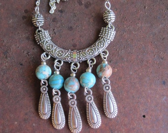 Moroccan Boho Gypsy Inspired Small Bib Style Necklace with Aqua Terra Jasper Beads and Silver Tone Dangles - Crescent Pendant Necklace