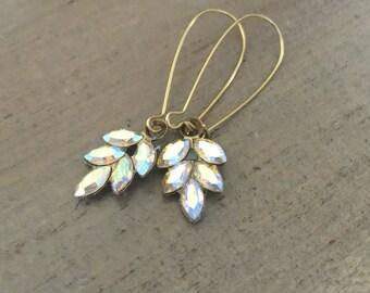 Swarovski Crystal Leaf Earrings, Ab Crystals, Wedding Jewelry, Bridal Jewelry, Bridesmaids