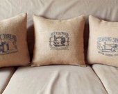 Vintage Burlap Embroidered Pillow Cover - Best in the world - Natural Burlap Pillow Cover - Mother's Day Birthday Craft Sewing Gift