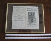 Hoosier Cabinet Brochure Early 1900s Ephemera Collectible Signed and Framed