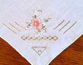 Fine Linen Vintage Hanky with pretty coral flower and openwork detail