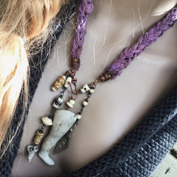 Victorian tribal assemblage necklace with antique dolls leg | rustic assemblage, found object necklace, narrative jewelry