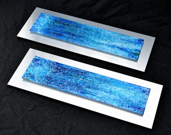 "Waterfall Pair - Made to Order -Fused Glass Wall Art Mounted on Stainless Steel - 10""x28"" each."