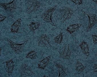 Quilting Treasures - Sea Treasures - Dk Blue Sailboat Toile