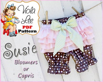 Susie, Girl's Ruffle Bloomer Pattern, Ruffle Pants Pattern, Baby Bloomer Sewing Pattern. pdf Sewing Pattern. Toddler Sewing Pattern.