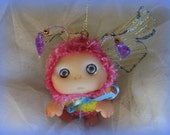 Purple Pink  Lavender Butterfly Fairy , Cute Baby Doll, Decoration for home Christmas, Lucky Charm, made to order.