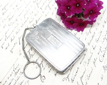 Antique Sterling Silver Finger Purse, for Coins, Compact. Engraved A A L