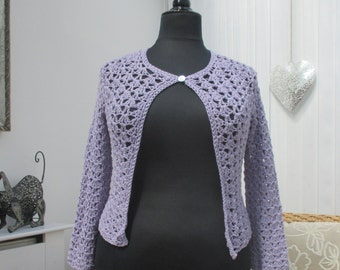 Openwork cotton smaller sized lady's crochet cardigan