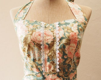 Rustic Floral Bridesmaid Dress Floral Party Dress Summer Dress Vintage Floral Dress w/Lace Exotic Rose  -XS-XL,Custom