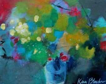 "Abstract Floral Still Life on Small Canvas, Colorful Art, Modern, Affordable Original ""Bouquet of Flowers"""