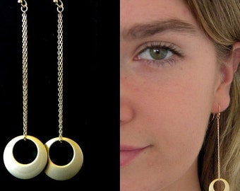 SALE Long Circle Matte Gold Chain Earrings